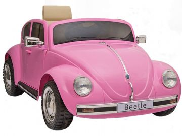 Classic Volkswagen Beetle Pink Licensed 12v Electric Ride on Car with Parental Control
